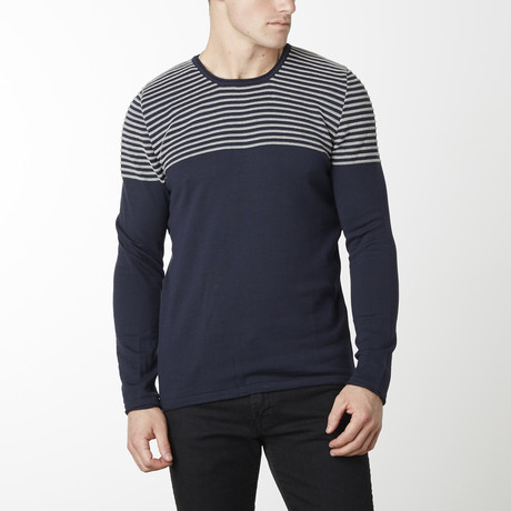Shoulder Strip Knit Long Sleeve // Navy + Grey (M)
