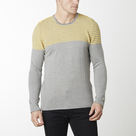 Shoulder Strip Knit Long Sleeve Melange // Grey Melange Yellow (M)