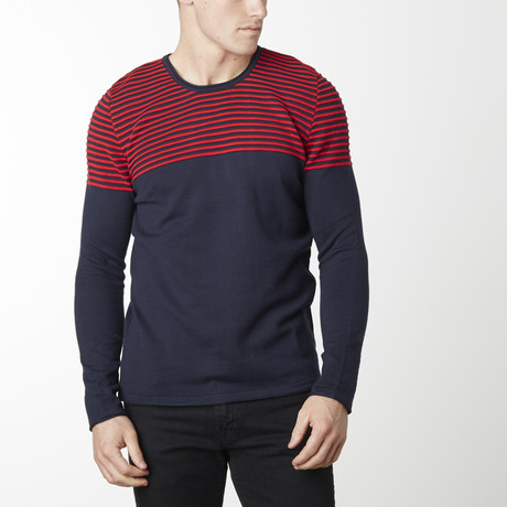 Shoulder Strip Knit Long Sleeve // Navy + Red (M)