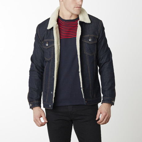 Sherpa Lined Denim Jacket // Dark Navy (S)