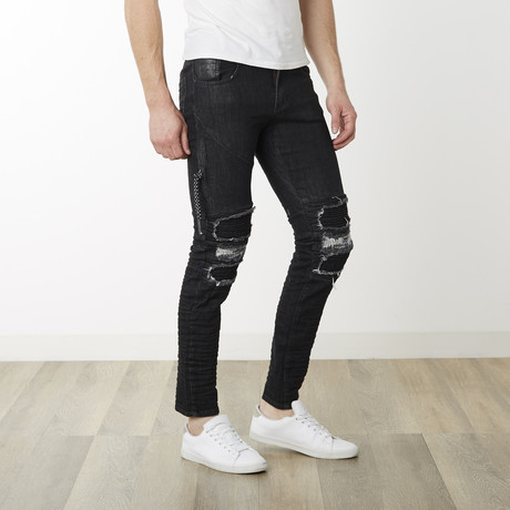Moto Distressed Denim // Black White (29WX32L)