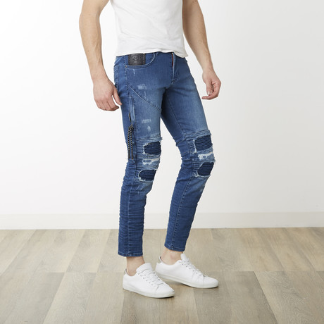 Moto Distressed Denim // Blue (29WX32L)