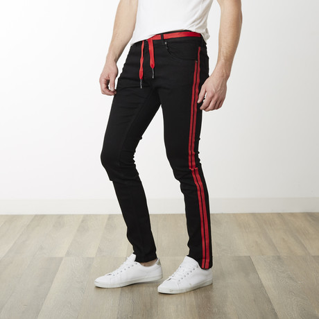 Milano Slim Fit Pants // Black + Red (29WX32L)