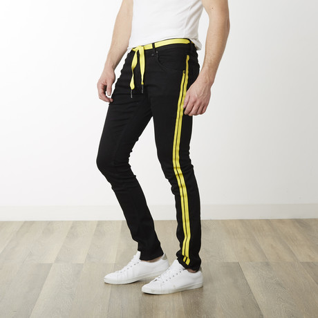 Milano Slim Fit Pants // Black + Yellow (29WX32L)