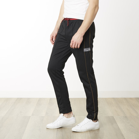 Gold Pinstripe Skinny Fit Jogger // Black (S)
