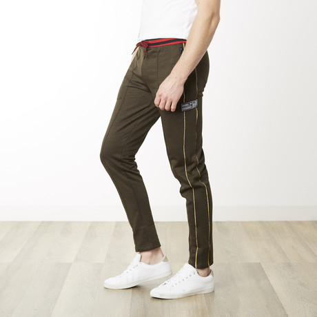 Gold Pinstripe Skinny Fit Jogger // Marled Olive (S)