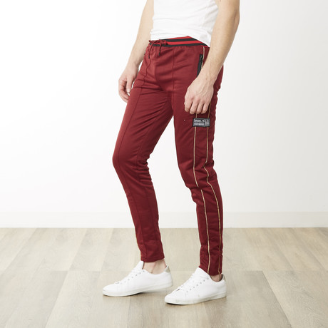 Gold Pinstripe Skinny Fit Jogger // Wine (S)