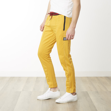 Gold Pinstripe Skinny Fit Jogger // Mustard (S)