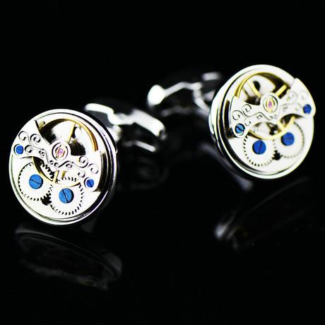 Watch Gear Cufflink // Silver + Blue Details