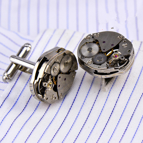 Watch Gear Cufflink // Silver + Gunmetal