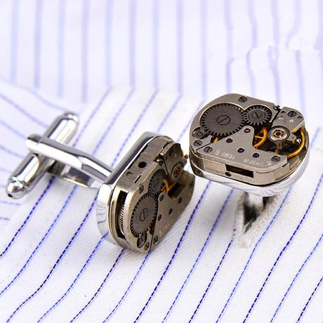Watch Gear Cufflink // Silver + Black Details