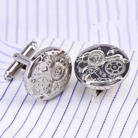 Watch Gear Cufflink // Silver
