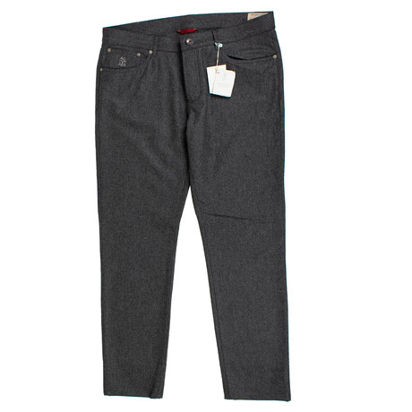 Brunello Cucinelli // Wool Five Pocket Jeans // Charcoal Gray (44)