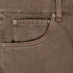 Brunello Cucinelli // Denim Cotton Five Pocket Jeans // Brown (44)