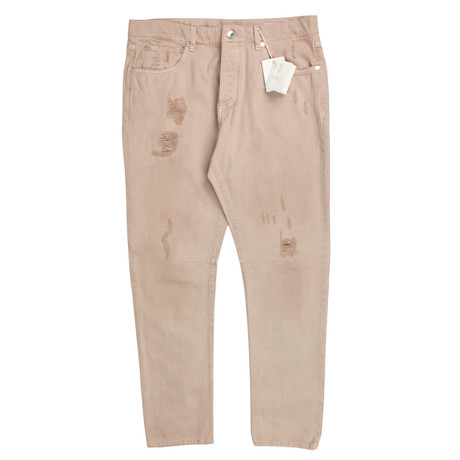 Cotton Distressed Five Pocket Pants // Tan (44)
