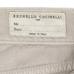Cotton Distressed Five Pocket Jeans // Tan (44)