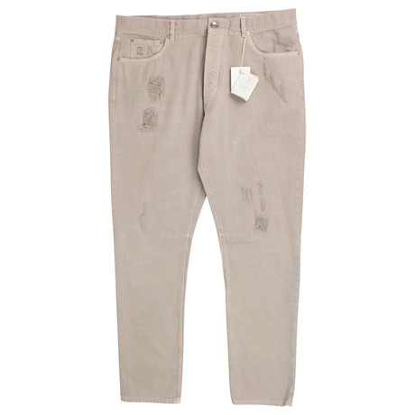 Brunello Cucinelli // Cotton Distressed Denim Jeans // Tan (44)