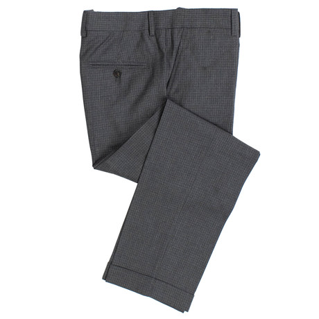 Check Cropped Wool Dress Pants // Gray (44)