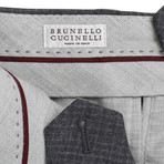 Brunello Cucinelli // Check Cropped Wool Dress Pants // Gray (44)