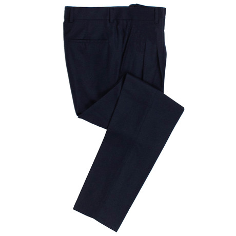 Wool Blend Pleated Dress Pants // Marine Blue (44)