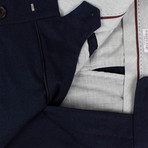 Wool Blend Pleated Dress Pants // Marine Blue (44)