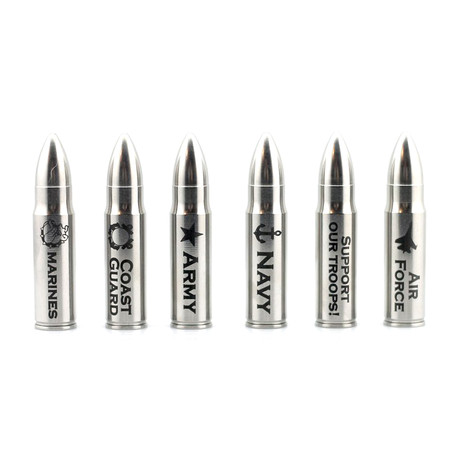 The Original Whiskey Bullet + Cylinder Package // Military // Set of 6