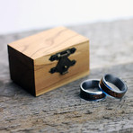 Titanium Ring With Whisky Barrel Wood Inlay + Gift Box (Size: 7)