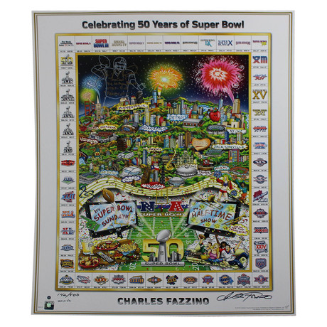 Joe Montana // Signed Super Bowl 50 Fazzino Poster // Limited Edition