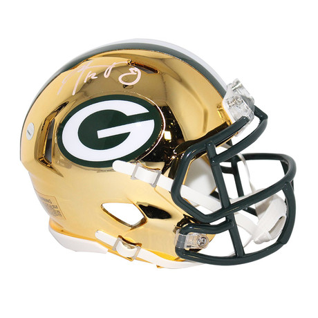 Aaron Rodgers // Signed Green Bay Packers Riddell Mini Chrome Helmet