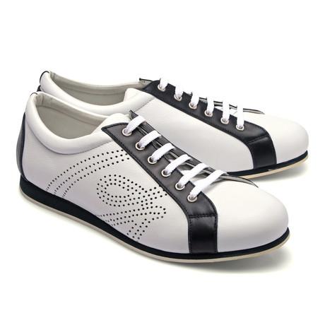 Brioni // Two Tone Leather Fashion Sneaker // White + Black (Euro: 43)