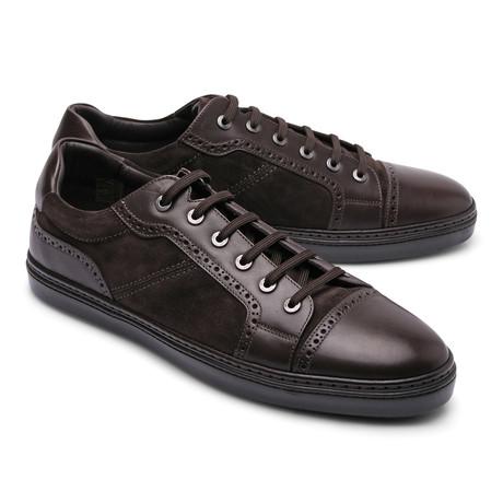 Brioni // Leather Fashion Sneaker // Brown I (Euro: 43)