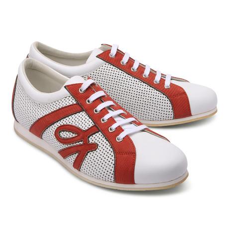 Brioni // Leather Two Tone Fashion Sneaker // White + Red (Euro: 43)