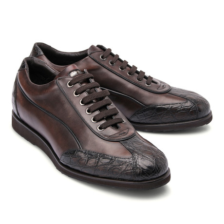 Leather Two Tone Fashion Sneaker // Brown (Euro: 43)