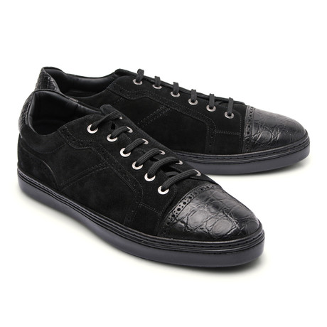 Brioni // Suede Two Tone Fashion Sneaker // Black (Euro: 43)
