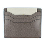 Small Grained Leather Open Side Card Holder Wallet // Brown