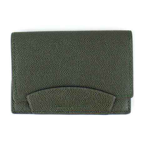 Pebbled Leather Envelope Card Holder Wallet // Green