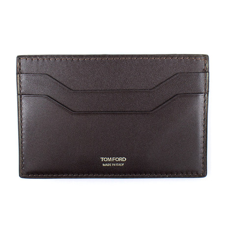 Smooth Leather Card Holder Wallet // Dark Brown