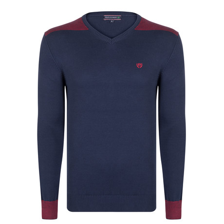 Maxamillion Pullover // Navy + Bordeaux (XS)