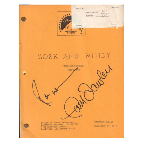 Mork And Mindy // Original Set-Used Script // Robin Williams + Pam Dawber