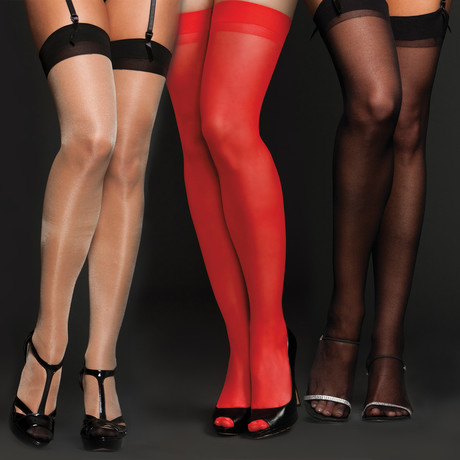 Thigh-Hi // 3 Pack // Black + Red + Nude