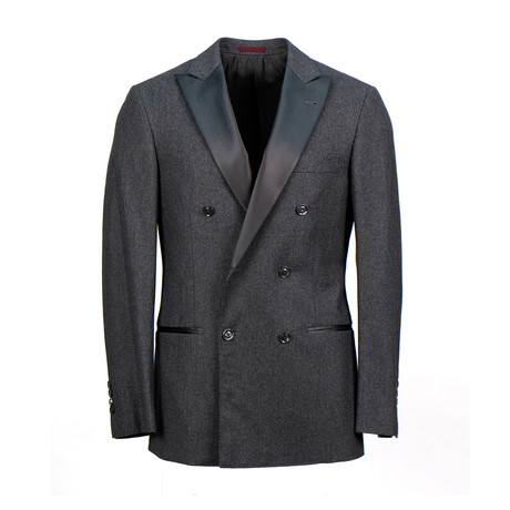 Brunello Cucinelli // Wool Blend Satin Trim Double Breasted Tuxedo Suit // Gray (Euro: 48)