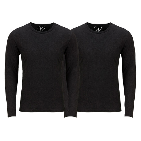 Ultra Soft Semi-Fitted Crew Neck Long Sleeve // Black + Black // Pack of 2 (S)