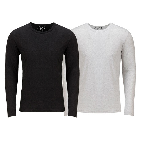 Ultra Soft Semi-Fitted Crew Neck Long Sleeve // Black + White // Pack of 2 (S)