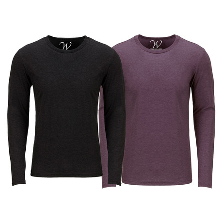Ultra Soft Semi-Fitted Crew Neck Long Sleeve // Black + Burgundy // Pack of 2 (S)