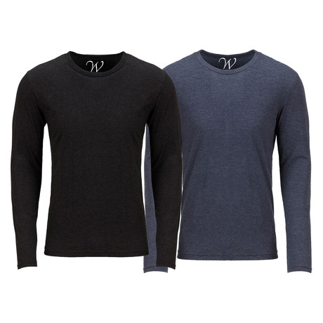 Ultra Soft Semi-Fitted Crew Neck Long Sleeve // Black + Navy // Pack of 2 (S)