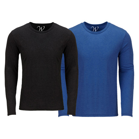 Ultra Soft Semi-Fitted Crew Neck Long Sleeve // Black + Royal Blue // Pack of 2 (S)