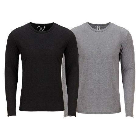 Ultra Soft Semi-Fitted Crew Neck Long Sleeve // Black + Heather Gray // Pack of 2 (S)