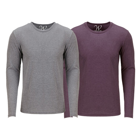 Ultra Soft Semi-Fitted Crew Neck Long Sleeve // Heather Gray + Burgundy // Pack of 2 (S)