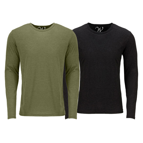 Ultra Soft Semi-Fitted Crew Neck Long Sleeve // Military Green + Black // Pack of 2 (S)