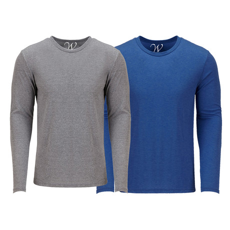 Ultra Soft Semi-Fitted Crew Neck Long Sleeve // Heather Gray + Royal Blue // Pack of 2 (S)